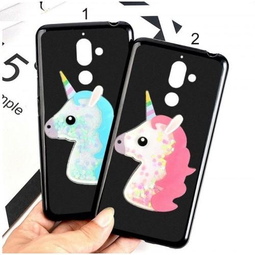 Custodia cover per Nokia 2 3 5 6 X5 X6 2018 in silicone unicorno liquido glitter