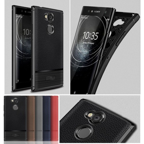 Custodia cover silicon effetto pelle antiurto per sony Xperia XA1 XA2 Ultra Plus