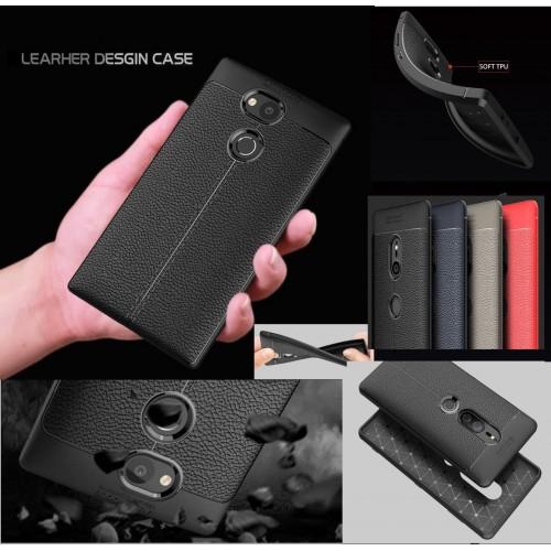 Custodia cover silicone antiurto fibra carbonio sony Xperia Xz2 Compact Premium