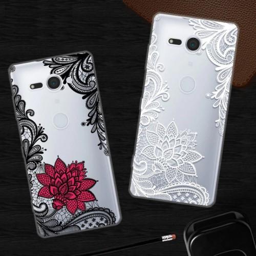 Custodia cover silicone antiurto fiori sony Xperia XZ XZ1 Compact Premium L1 L2