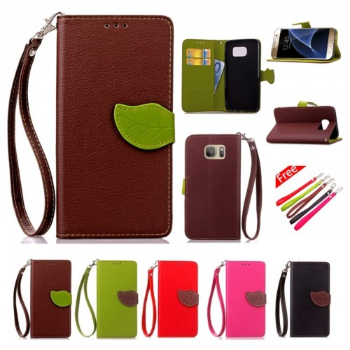 Custodia flip Cover case cuoio con slot card fashion per Samsung Galaxy S7 G930