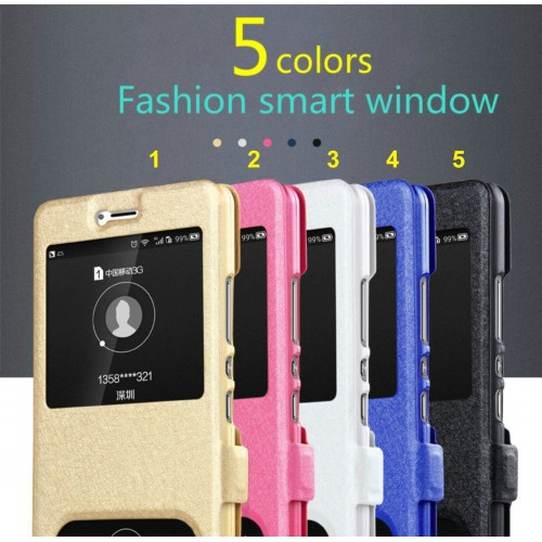 Custodia flip Cover case cuoio windows magnetic per Samsung Galaxy A3 A5 A7 2017
