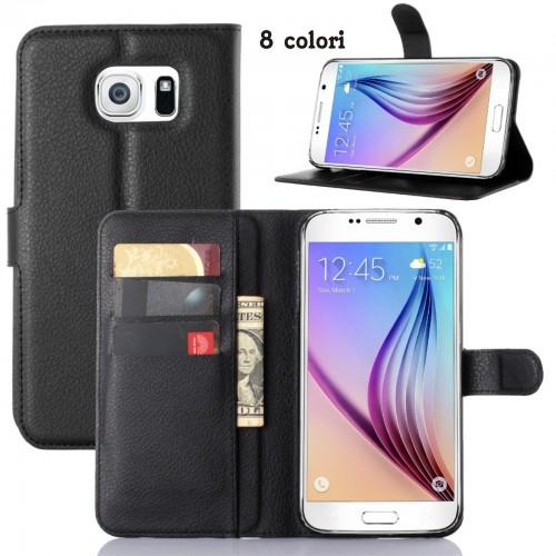 Custodia flip Cover case in cuoio con slot card per Samsung Galaxy S7 G930 G9300