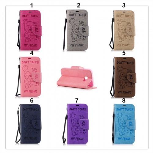 Custodia flip Cover case in cuoio orso teddy per Samsung Galaxy A3 A5 A7 2017