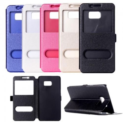 Custodia flip Cover case pelle 2 windows per Samsung Galaxy S7 Edge + pellicola