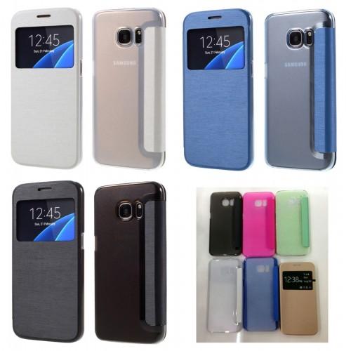 Custodia flip Cover case pelle + Tpu windows fashion per Samsung Galaxy S7 G930