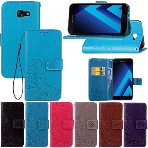 Custodia flip Cover case pelle con 3 slot card per Samsung Galaxy A3 A5 A7 2017