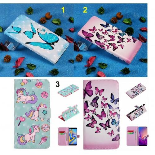 Custodia flip Cover unicorno farfalle protezione per Samsung S8 S9 S10 S10E Plus