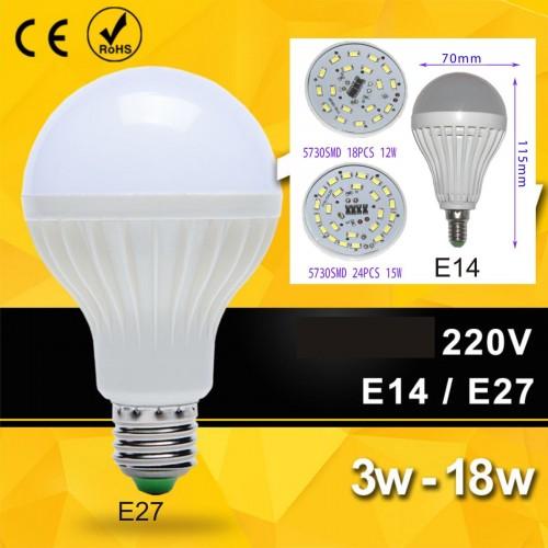 E27 E14 5 7 12 15 20 25 30W LED 5730 SMD Lampadina Luce 360° 220V fredda/calda