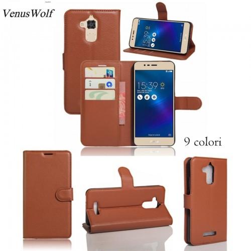 FLIP Cover custodia Case PELLE CON clip SLOT CARD per Asus Zenfone 3 Max ZC520TL