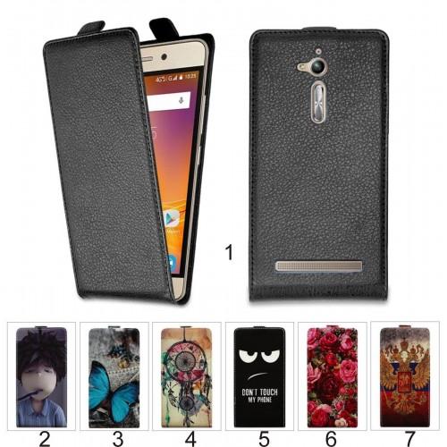 FLIP Cover custodia Case PELLE apertura a portafogli per Asus Zenfone Go Zb500KL