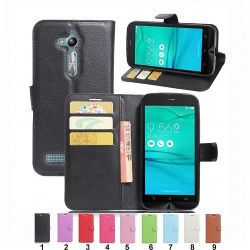 FLIP Cover custodia Case in PELLE CON clip SLOT CARD per Asus Zenfone Go Zb500KL