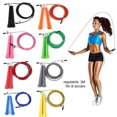 Fitness corda allenamento per saltare in acciaio lunghezza 3 metri regolabile