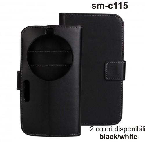 Flip COVER CUSTODIA CASE lusso cuoio per Samsung GALAXY K sm-c115 + 2 slot card