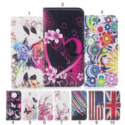 Flip COVER CUSTODIA magnetic fiori farfalle slotcard per HUAWEI Y3 Y5 Y6 Y7 2017