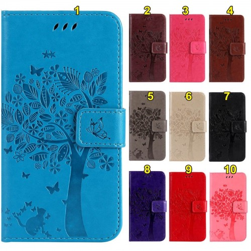 Flip Cover Custodia case cuoio albero con slot card per Samsung Galaxy S8 & Plus