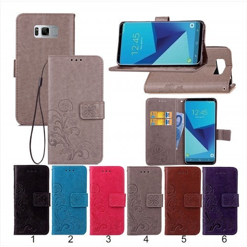 Flip Cover Custodia case cuoio pelle  slot card per Samsung Galaxy S8 & S8 Plus