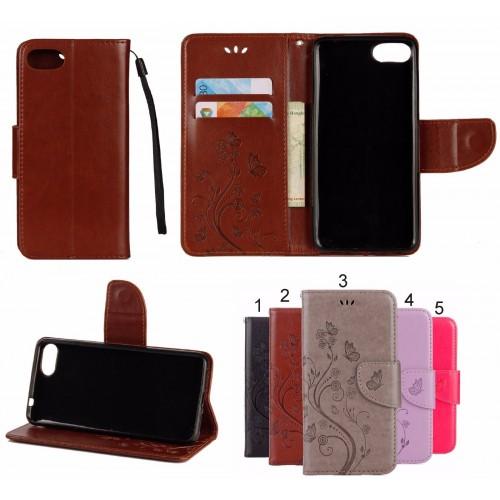Flip Cover Custodia case wallet cuoio farfalle slotcard per asus zenfone 4 Max