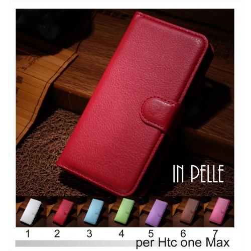 Flip Cover custodia Case Pelle clip magnetico slot card per modelli HTC One Max