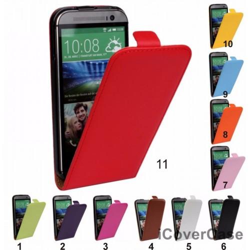 Flip Cover custodia Case magnetica vintage protezione in pelle per HTC One M8