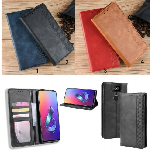 Flip Cover custodia antiurto pelle vintage fashion per Asus Zenfone 6 ZS630KL
