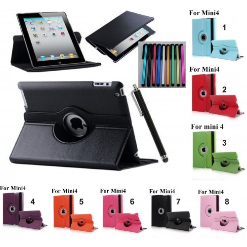 Flip Cover custodia case pelle apertura 360° per Apple IPad 1 2 3 4 mini + Pen
