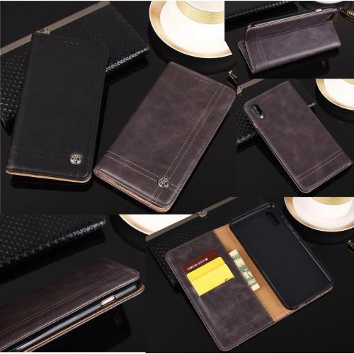 Flip Cover custodia cuoio con tasca carte per Asus Zenfone 5 5Z lite Live L1 max