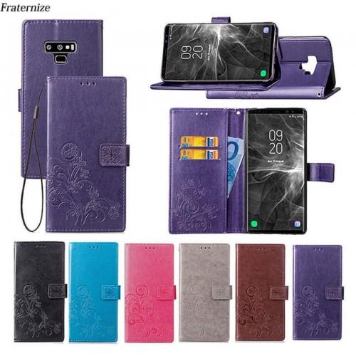 Flip Cover custodia magnetica slotcard cuoio per Samsung Galaxy note 3 4 5 8 9