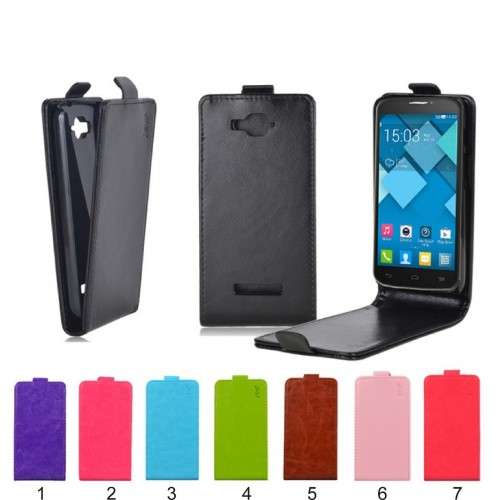 Flip Custodia Cover case magnetica pelle per alcatel one touch Pop C3 C5 C7 C9
