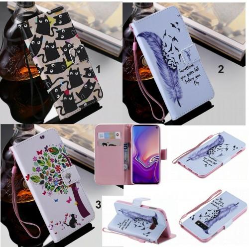 Flip cover Custodia magnetica cuoio gatto fiori per Samsung  S8 S9 S10 S10E Plus