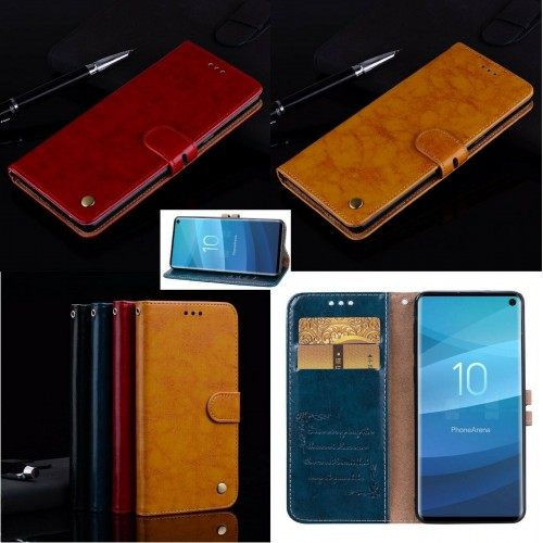 Flip cover Custodia magnetica cuoio per Samsung S6 S7 S8 S9 S10 S10E Plus