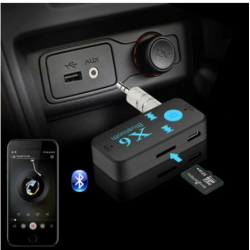 KIT VIVAVOCE Per Auto FM MP3 Aux 3.5mm BLUETOOTH trasmettitore per Altoparlante