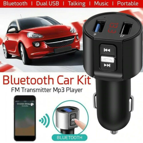 KIT VIVAVOCE Per Auto FM MP3 USB BLUETOOTH 5.0 TABLET smartphone caricabatterie