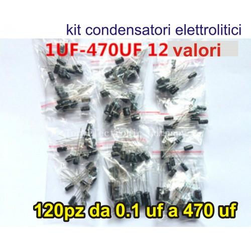Kit condensatori elettrolitici 12 x10 valori, 120 pz. da 0.1 uf - 470 uf arduino