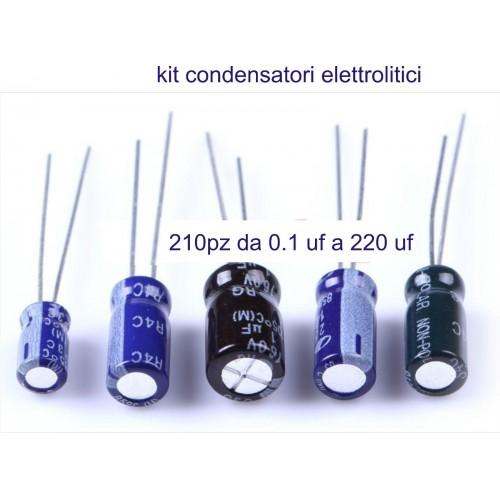 Kit condensatori elettrolitici 25 valori, 210 pz. da 0.1 uf - 220 uf