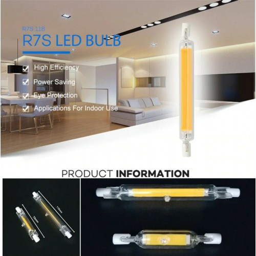LAMPADA LAMPADINA LED R7S cob LUCE 78/118mm 220V 5W 10W 15W 20W tubo di vetro