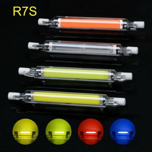 LAMPADA LAMPADINA LED cob R7S LUCE 360° 4 colori 118 mm 220-230V 8Watt a tubo