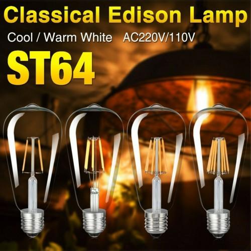 LAMPADINA LED luce a incandescenza E27 220V 2led 4led 6led 8led lampada ST64