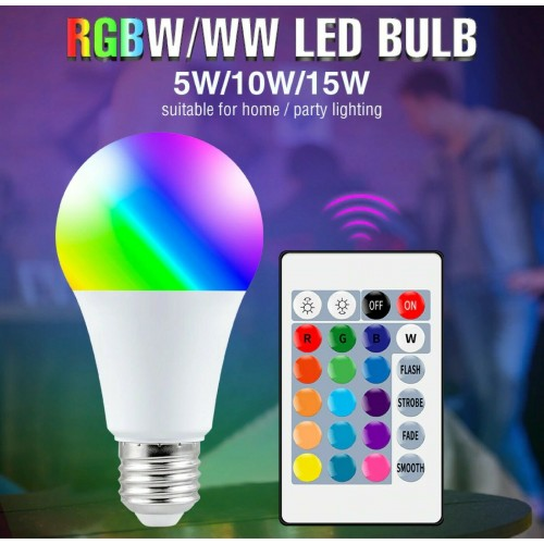 LAMPADINA a LED RGB attacco E27 24key IR Remote Controller dimmerabile 5 10W 15W