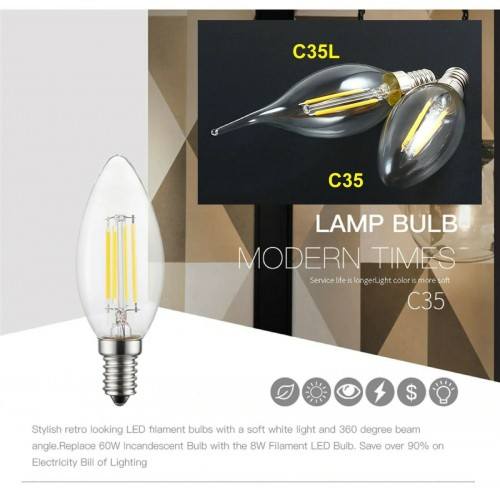 LAMPADINA a LED luce incandescenza E14 220V 2led 4led 6led lampada C35 C35L
