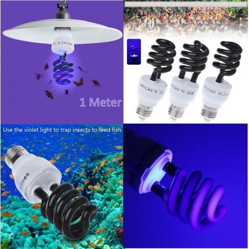 LAMPADINA a spirale nera ultravioletta luce UV 5W 15W 20W 30W 40W a risparmio