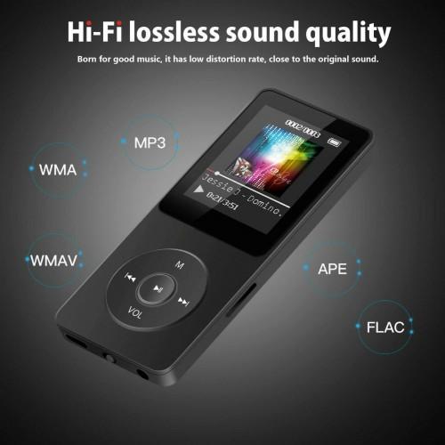 LETTORE PLAYER MP3 alluminio portatile hifi video musica FM radio registrazione