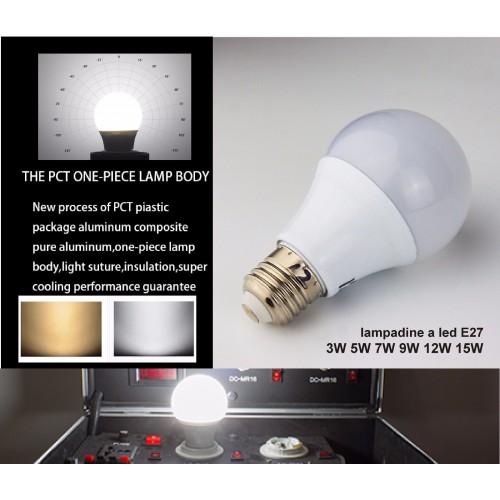 Lampadina bulbo E27 3W 5W 7W 9W 12W 15W LED 2835 SMD Luce AC220V fredda/calda