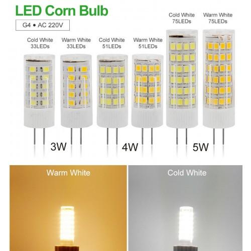 Lampadine Lampade a Led G4 smd 2835 AC 220V 230V 3W 4W 5W luce a 360° ceramica