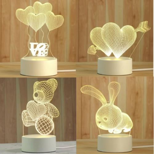 Luce Notturna a led comodino orsetto coniglio cuori 3D per Bambini Lampada USB