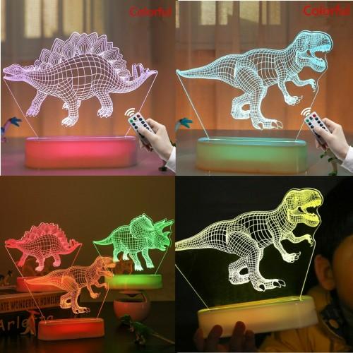 Luce Notturna dinosauro 3D per Bambini Lampada USB led 5 colori con telecomando