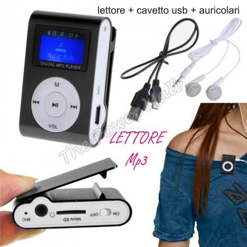 MINI LETTORE MP3 LCD PLAYER ALLUMINIO CLIP USB SUPPORTA MICRO SD TF DA 2 A 32 GB