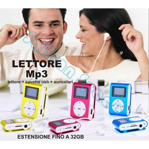 MINI LETTORE MP3 LCD PLAYER ALLUMINIO CLIP USB SUPPORTA MICRO SD TF DA 2 A 32 GB