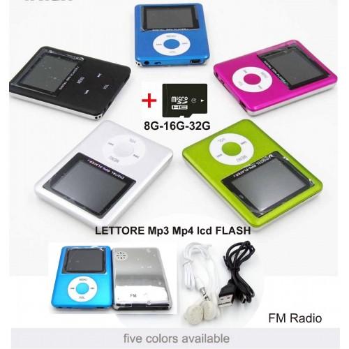 MINI LETTORE MP3 MP4 PLAYER ALLUMINIO CLIP USB lcd + scheda MICRO SD TF da 32GB
