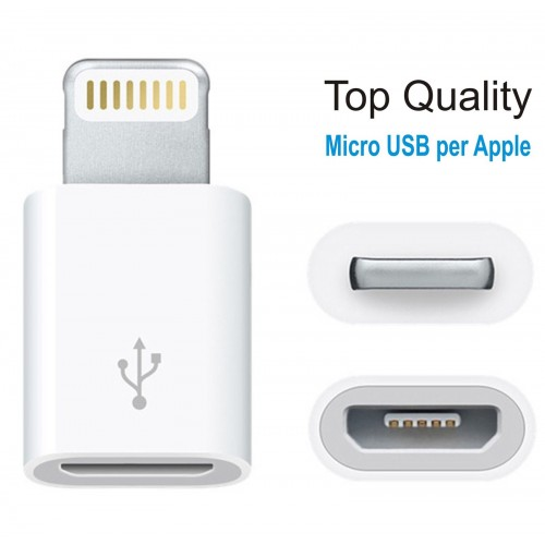 Micro USB femmina PER IPHONE 5 6 plus SYNC CARICA IPAD 4 IOS  IPOD 7th 8 pin
